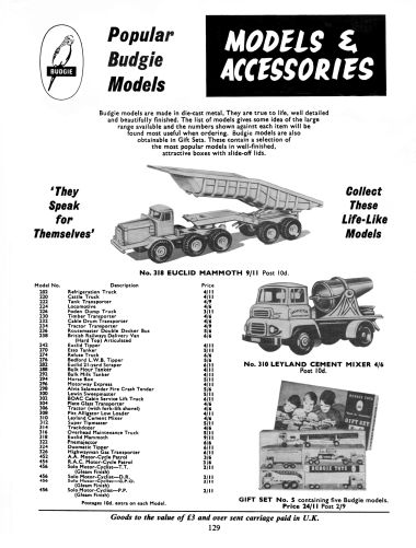 "1966: ""Popular Budgie Models and Accessories"""