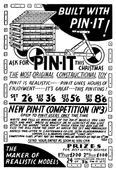 "1932: ""Build it with Pin-It"", Hobbies Weekly"