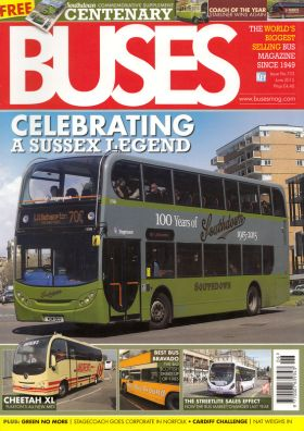"Special issue of ""Buses"" magazine (June 2015) with an 18-page pullout marking the 100-year anniversary of Southdown"