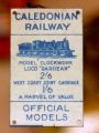 Caledonian Railway Official Models enamelled tinplate plaque.jpg