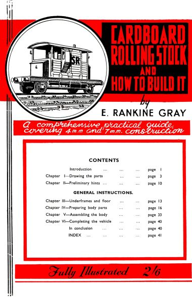 "Front cover of Gray's ""Cardboard Rolling Stock and How To Build It"" (1944-), edition unidentified"