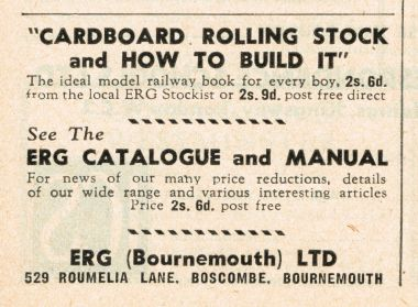 "1949: ad for ""Cardboard Rolling Stock and How To Build It"", by E. Rankine Gray, April 1949"