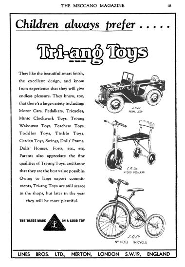 "1947: ""Children always prefer Tri-ang Toys"""