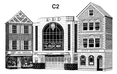 Cinema, Post Office and Shop, low-relief models, Superquick C2