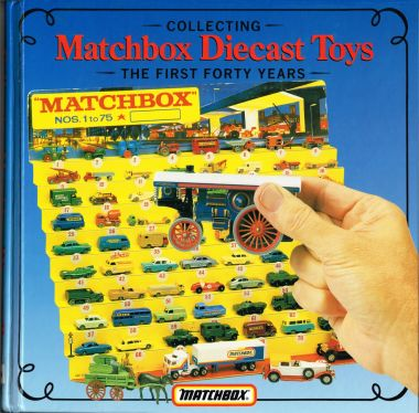 "1989: Front cover of ""Collecting Matchbox Diecast Toys, The First Forty Years"" ISBN 0951088513, showing a ""1-75"" Matchbox dealer display stand"