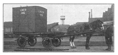 1928: LNER Shipping container with horse and wagon