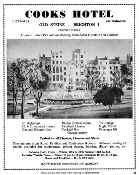 ~1961: Advert for Cooks Hotel, showing the Old Steine fountain