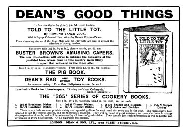 1908 advert for Dean & Son books, including the Dean's Rag (and other) Toy Books range