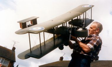 Denis with another RC biplane model, this time a Vickers Vimy