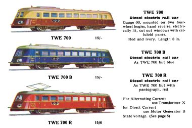 TWE 700 – Diesel-electric and pantograph electric railcars, in cream-and-red, blue, and red