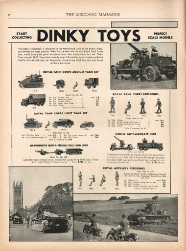 November 1939: full-page advert from Meccano Magazine showing tanks on British streets