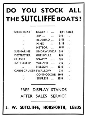 "1939: Games and Toys trade advert, ""Do you stock all the SUTCLIFFE boats?"""