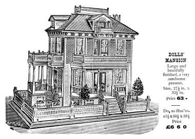 "1902: Gamages catalogue ""Doll Mansion"", with ""Nuremberg"" indicator on artwork"
