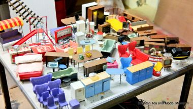 Some 1960s dollhouse furniture being sorted and identified in the museum, the great majority made by Spot-On