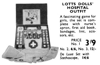 1939: Lotts Dolls' Hospital Outfit, Hamleys Catalogue image