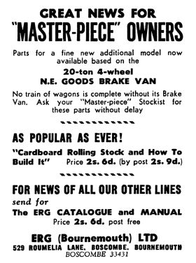"1949: ad for new models and ""Cardboard Rolling Stock and How To Build It"", ERG (Bournemouth) Ltd., June 1949"
