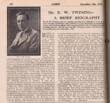 "1932: ""Mr. E.W. Twining: A Brief Biography"", Hobbies Weekly"