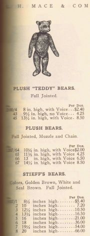 1907 advert, with an image that may or may not be one of the early Steiff bears