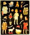 Early paper dolls cut-out sheet, black background, unidentified, 02.jpg