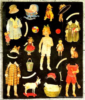 An early cutout paper dolls sheet, probably Victorian