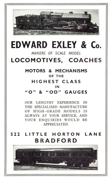 1939: Edward Exley & Co. advert, showing locomotive and twelve-wheeler carriage