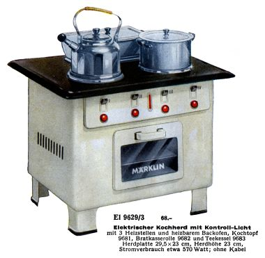 1939: El 9629/3, Märklin's premium electric stove by the end of the 1930s, including a glass oven door, power indicator light, and power lights for the individual hotplates