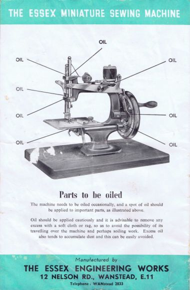 """Parts to be oiled"", Essex Miniature Sewing Machine (Mk1)"