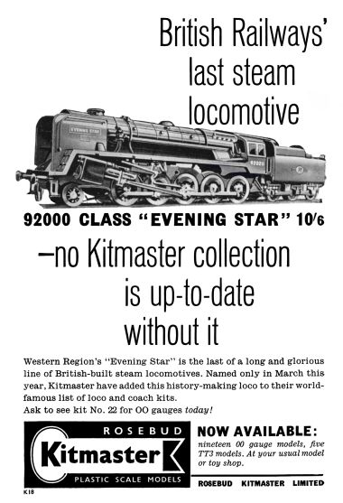 1960 December: Kitmaster's last advert in Meccano Magazine, showing the Evening Star kit for the second time