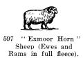 Exmoor Horn Sheep (Ewes and Ram in full fleece), Britains Farm 597 (BritCat 1940).jpg