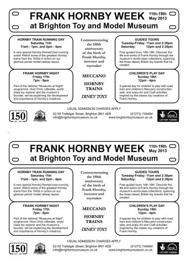 "Frank Hornby Week, ""events schedule"" insert for brochure, double"