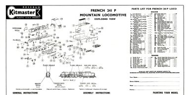 "French ""Mountain"" Locomotive 241P, Kit No.23, exploded view"
