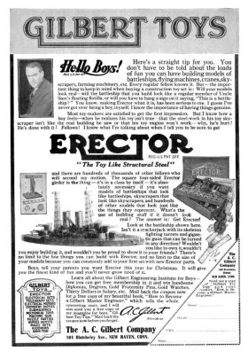 "1917: ""Hello Boys!"" advert with a picture of A.C Gilbert, advertising Erector"
