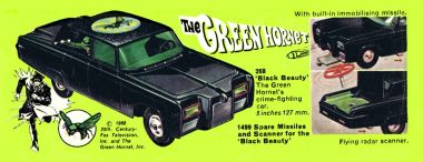 "1968 Corgi catalogue graphic: The Green Hornet's car, ""Black Beauty"""