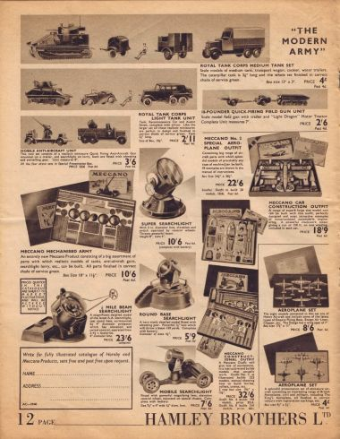 1939: page from the Hamleys catalogue
