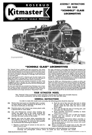 "Instructions for kit No.5, ""Harrow"" Schools Class loco"