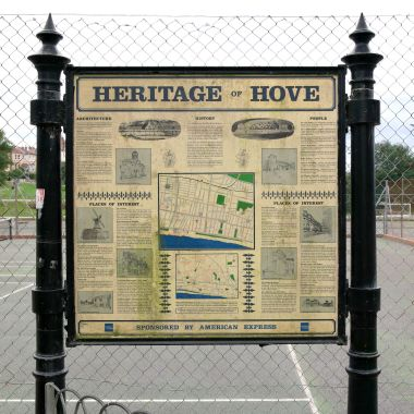 """Heritage of Hove"", a slightly outdated Hove Council information board, presumably put up some time before 1997 (since it mentions the football grounds)"