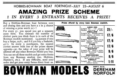 1932: Hobbies-Bowman Boat Fortnight, prize scheme