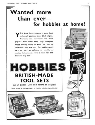 1939: Hobbies British-made Tool Sets
