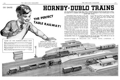 """Hornby-Dublo Trains, The Perfect Table Railway"" - The original two-page centre-spread article in Meccano Magazine announcing the launch of the new Dublo system appeared in the November 1938 issue of the magazine"