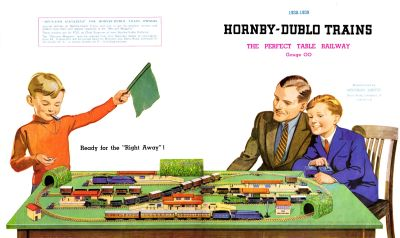 "1938: Dublo ""launch"" brochure. Note the repetition of the two loco types"