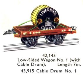 1956: Hornby-Dublo 42,145, Low-sided Wagon with Cable Drum (Liverpool Cables, LEC)