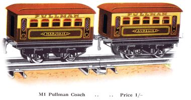 1930: Inexpensive toy railway carriages benefiting from the Pullman glamour, Hornby