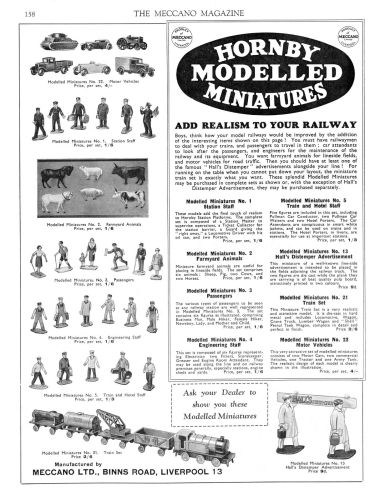 Hornby Modelled Miniatures advert, 1934