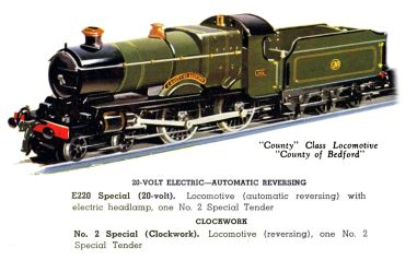 Hornby No.2 Special locomotive, GWR 3821 County of Bedford, 1938 catalogue image