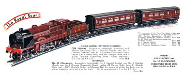 1938: Hornby No.3 Royal Scot train set, catalogue image