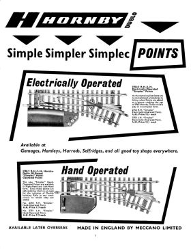"1963: Hornby ""Simplec"" simplified two-rail points"