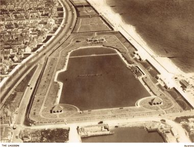 1936: Aerial view of Hove Lagoon