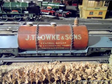 Model gauge 0 boiler in transport, J.T. Lowke and Sons, made by Bassett-Lowke