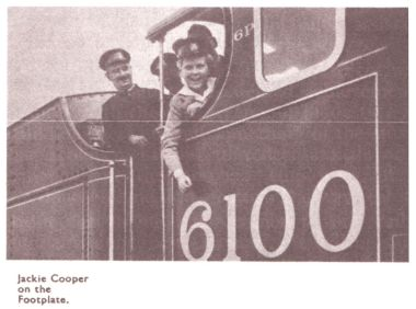 America child actor Jackie Coogan, on the footplate of the Royal Scot