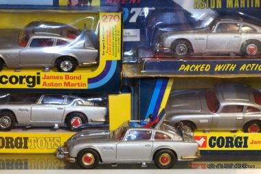 Some of the James Bond Aston Martin DB5 variants